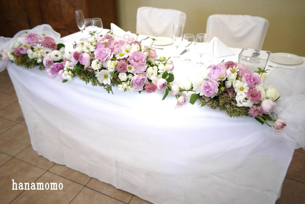 ウェディングの花会場装花