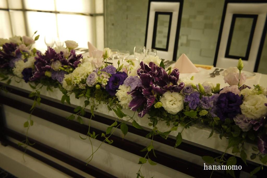 ウェディングの花メインテーブル